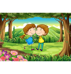 A couple dating at the forest vector image vector image