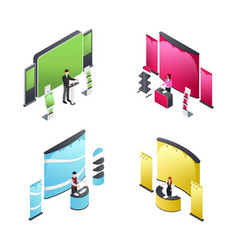 exhibition isometric compositions vector image