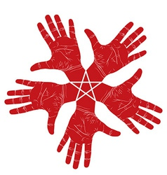Five open hands abstract symbol with pentagonal vector image