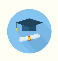 Graduation Student Hat and Diploma vector image vector image