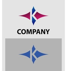 Letter K logo with star icon vector image