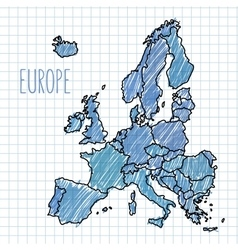 Pen hand drawn europe map on paper vector