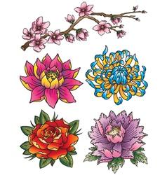 Tattoo Flower Set vector image vector image