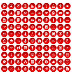 100 strategy icons set red vector