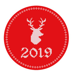 2019 knitted logo reindeer vector image