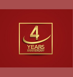 4 years anniversary with square and swoosh golden vector