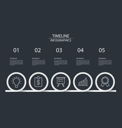 5 steps timeline infographics circle style vector image