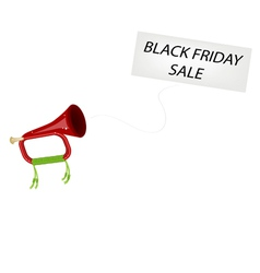 A Musical Bugle Blowing Black Friday Flag vector image