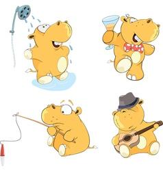 A set of hippos cartoon vector
