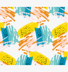 Abstract blue and yellow with pink and black marks vector