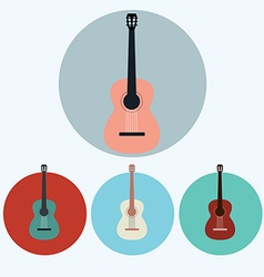 Acoustic Guitar colorful icon set vector