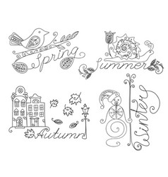 adult coloring seasonal images and inscriptions vector image