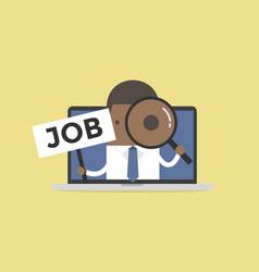 african businessman holding job sign vector image