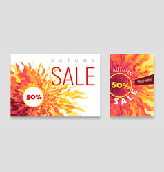 autumn sale flyers set with abstract fall vector image