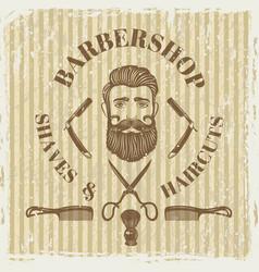 barber shop vintage poster grunge style vector image