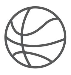 basketball ball line icon game and sport vector image