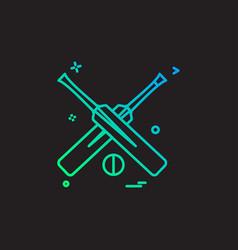 bat bats ball cricket icon design vector image
