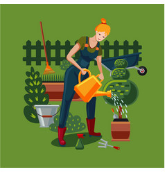beautiful woman is working in a garden a woman vector image