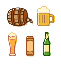 beer icon set isolated on white vector image