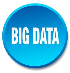 Big data blue round flat isolated push button vector
