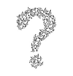 Birds flying in form of question mark engraving vector