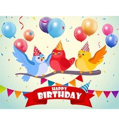 Birthday celebration with cute birds vector