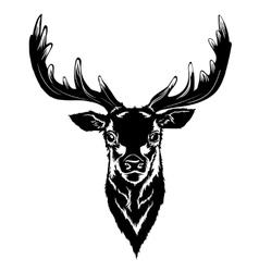 Black deer head vector