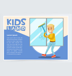 Blue card with young boy washing the window with vector