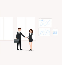 businessman with businesswoman after bargaining vector image