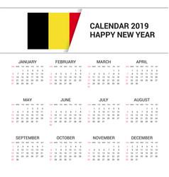 Calendar 2019 belgium flag background english vector
