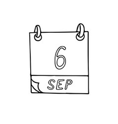 Calendar hand drawn in doodle style september 6 vector
