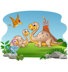 Cartoon mother and baby dinosaurs with nature vector