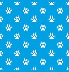cat paw pattern seamless blue vector image