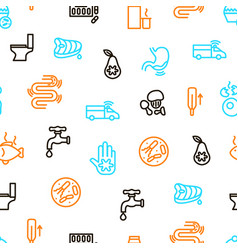 Causes of diarrhea seamless pattern background vector