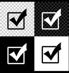 check mark in a box icon isolated on black white vector image