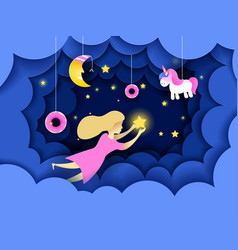 child touching the stars in the sky kids dream vector image