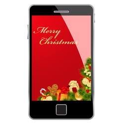 christmas card smartphone vector image