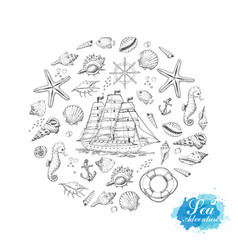 circle from summer marine elements vector image