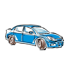 Colored hand drawn car on white background sedan vector image