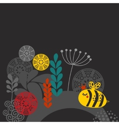 Colorful print with bee and flowers vector image
