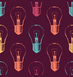 colorful seamless pattern with light bulbs modern vector image