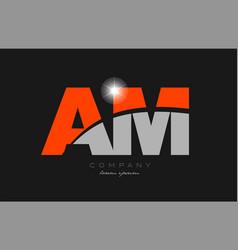 Combination letter am a m in grey orange color vector