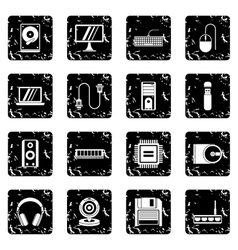 Computer set icons grunge style vector