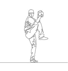 Continuous line pitcher going to throw ball vector