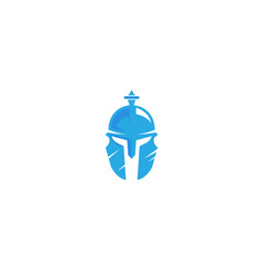 Creative scratched blue warrior helmet logo vector