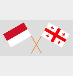 Crossed georgian and indonesian flags vector