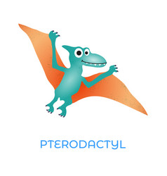 cute dinosaur pterodactyl cartoon drawn for tee vector image