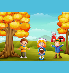 Cute three kids in farm background vector