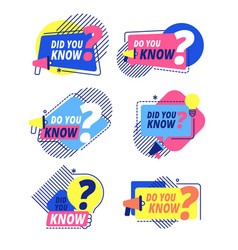 do you know questions templates did you know vector image