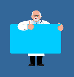 doctor holding banner blank physician and white vector image